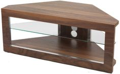 """Iconic Walnut Corner TV Stand for screens up to 50\"""""""
