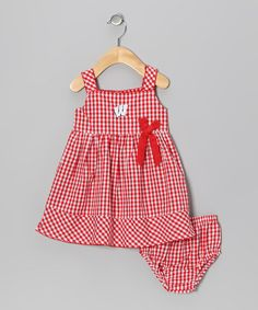 Take a look at this Red Checker Wisconsin Madison Dress - Infant, Toddler & Girls by Garb on #zulily today!