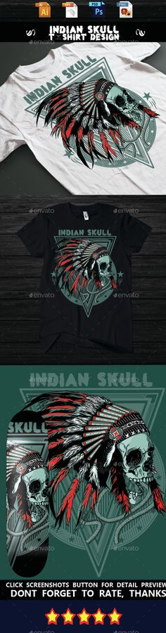 Indian Skull Tshirt design — Vector EPS #clothing #t-shirt • Available here → https://graphicriver.net/item/indian-skull-tshirt-design/14939387?ref=pxcr