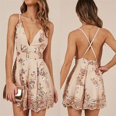 Sequins Floral V-Neck Backless Jumpsuit Dress – Girly Giggles Source by short dresses White Lace Jumpsuit, Backless Jumpsuit, Floral Jumpsuit, Jumpsuit Dress, Sequin Dress, Short Backless Dress, Prom Outfits, Hoco Dresses, Dance Dresses