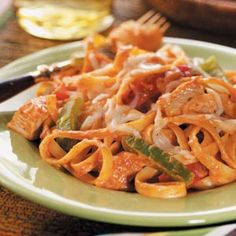 Cajun Chicken Fettuccine Recipe- I made this spicy goodness tonight and it was really good. I added zucchini (which was awesome), used homemade low-cal alfredo sauce, and bow tie pasta. DELICIOUS!! ~Christina
