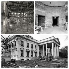 In 1950 the White House underwent a major restoration project at the request of President Truman. These black and white photos show the gutted White House, including the Oval Office.