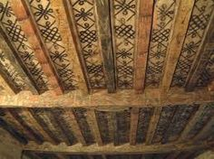 Ceiling showing the painted beams. Painted Ceiling Beams, Ceiling Painting, Ceiling Murals, Home Ceiling, Wood Ceilings, Perth, Decoration, Art Decor, Ranch Decor