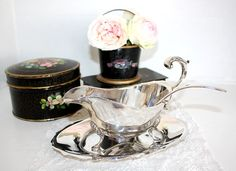 Silver Sauce Boat with underplate, ladle in box.