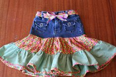 Simone at Crafty Daisies shows you how to refashion girl's jeans into a cute fiesta skirt.