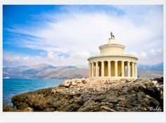 This summer I discovered the Island of Kefalonia which is such a beautiful, wild place with its untouched beaches and small hidden arhitectural treasures. Heres the mausoleum in Argostoli Harbour Peaceful Places, Beautiful Places, Places In Greece, Greece Travel, Home And Away, Greek Islands, The Good Place, Taj Mahal, Europe