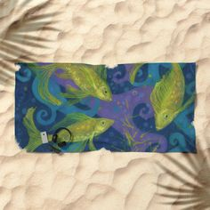 Golden Fishes, Blue &Yellow Beach Towel  Nautical design, golden fishes in water streams, violet, turquoise, navy blue and yellow colours. Underwater art, decorative pastel painting.   © Clipso-Callipso/ Julia Khoroshikh  #fish #fishes #pisces #goldenfish #water #aquatic #underwater #nautical #underwaterart #navyblue #turquoise #violet #yellow #decorative #clipsocallipso #beachlife #beachtowel #towels #bathroomdecor