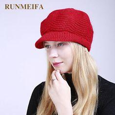 55217beed45 RUNMEIFA 2018 New Women Casual Striped Hat Female Winter Warm Skullies Caps  Beanies Cap For Women