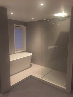 Minimal bathroom with large tiles (Micron by NorFloor) Minimal Bathroom, Master Bathrooms, Bathroom Layout, Interior And Exterior, Minimalism, Sweet Home, Shed, New Homes, House