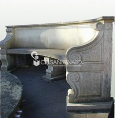 Curved #stone #garden #benches by Celsan