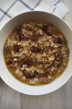 Sticky Toffee Pudding Porridge  Another newporridge recipe. Thenatural sugar in thedates give so muchsweetness that you don't need to use much golden syrup to get a super tastybowl of porridge that tastes just like a pudding but withfar less calories!I like to eat