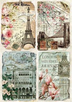 Rice Paper for Decoupage  Scrapbooking Sheet Craft Vintage Collage Paris London