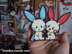 Minun and Plusle by TinySkye.deviantart.com on @DeviantArt