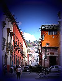 Downtown street in San Miguel, Mexico.