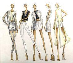 Ideas for fashion design sketchbook student work Fashion Design Sketchbook, Fashion Design Portfolio, Fashion Illustration Sketches, Fashion Design Drawings, Fashion Sketches, Drawing Fashion, Design Illustrations, Fashion Design Template, Dress Sketches