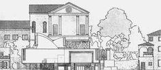 Prospetto frontale del progetto Scarpa per l'area San Paolo. Era previsto un grande patio coperto e aperto al pubblico su tutta l'area del pianterreno, un volume sopraelevato  dove avrebbe trovato sede la Banca, sormontato da scenografiche cupole vetrate.