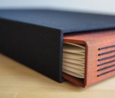 Handbound book and slipcase by Molly Lewis and Michelle Johnson of Hinged Strung Stitched