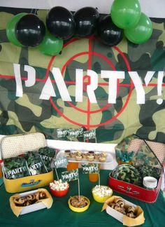 water battle gamer party anniversaire garçon bataille d'eau camouflage articles de fête Vegaooparty buffet