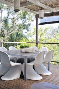 Panton chairs for outdoor dining, home of Jacinta Preston