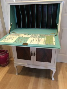 Upcycled bureau with a pop colour! Two tone. Exposed panels.