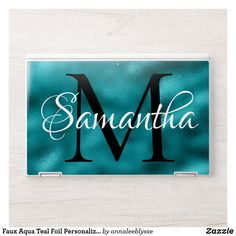 Faux Aqua Teal Foil Personalized Monogram HP Laptop Skin Monogram Gifts, Monogram Letters, Hp Laptop Skin, Aqua, Teal, Unique Gifts For Her, Christmas Card Holders, Keep It Cleaner, Holiday Cards