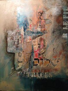 """""""Traces"""" Technique mixte sur toile Acrylique collage 2015 Fatiha Riry Nom Nom, Collage, Painting, Art, Art Background, Collages, Painting Art, Paintings, Kunst"""