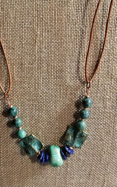 Vintage Turquoise Nuggets with Natural Beads.