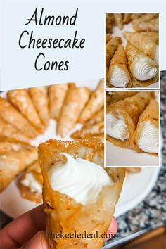 These almond cheesecake cones look beautiful and taste even better. They aren't hard to make but the more you make them the better they end up looking. Almond Cheesecake Cone Recipe, Waffle Cone Recipe, Waffle Cones, Sweet Recipes, Snack Recipes, Dessert Recipes, Strawberry Cake Pops, Vegetable Dishes, Thanksgiving Recipes