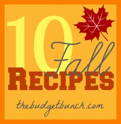 10 Fall Recipes you are going to love!! thebudgetbunch.com