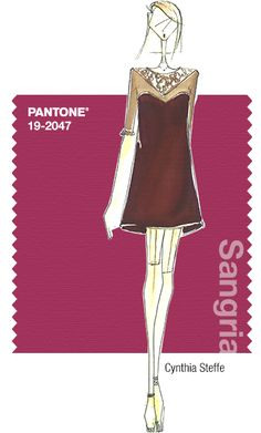 Cynthia Steffe in Pantone Sangria - FALL 2014 PANTONE's FashionColorReport - PROMINENT COLORS Rich, saturated colors with pops of cool brights, such as Deep Indigo and Lotus Petal