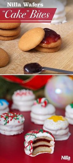 """Nilla Wafers """"Cake"""" Bites are too cute and so fun to make! Just layer jam between Nilla Wafers and cover in melted chocolate or candy coating for a mini """"cake"""". Serve them at your holiday party and they are sure to be a hit. by seza.yardimci"""