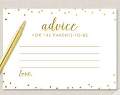 Gold Dots Advice For The Parents To Be Cards