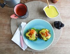 Sunday Morning Banana Pancakes: vegan eggs benedict // smokey portabella bacon