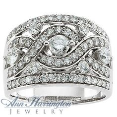 love this one. 1 1/3 ct tw White Gold Diamond Filigree Vintage Style Anniversary Band