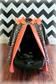 CORAL car seat canopy car seat cover cheetah by JaydenandOlivia, $45.99