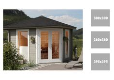 5-Eck-Gartenhaus WOLFF Katrin 44 Holz, Doppeltür, Blockbohelnhaus - ... das großzügige 5-Eckhaus mit großen Fenstern