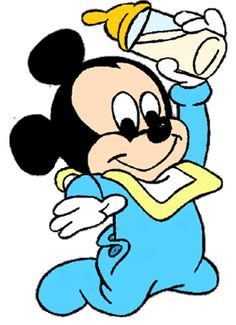 Baby Mickey w/Bottle Mickey Mouse Png, Mickey Mouse Baby Shower, Mickey Mouse And Friends, Minnie Mouse Party, Retro Disney, Cute Disney, Disney Mickey, Walt Disney, Baby Disney Characters