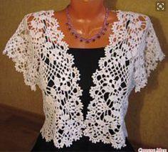 Bolero From Square Motifs - Diy Crafts Crochet Men, Gilet Crochet, Crochet Coat, Crochet Shirt, Crochet Girls, Crochet Jacket, Crochet Clothes, Freeform Crochet, Lace Patterns