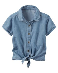 Baby Girl Chambray Tie-Front Top from Carters.com. Shop clothing & accessories from a trusted name in kids, toddlers, and baby clothes.