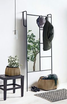 Black iron storage rack with mirror - The Forest & Co. Iron Storage, Storage Rack, Kitchen Storage Trolley, Vase Vert, Floor Standing Mirror, Iron Console Table, Mirrored Coffee Tables, Hallway Inspiration, Shoe Rack