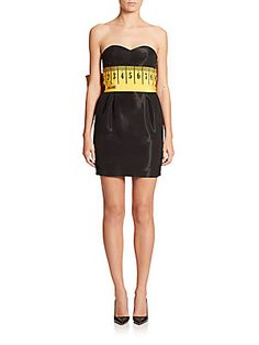 Moschino Measuring-Tape Sweetheart Cocktail Dress
