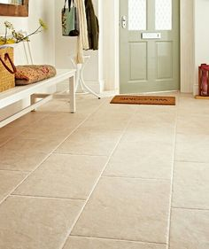 Devon Bone from Topps Tiles - potential for the dining room floor Nice front door for light and flooring Living Room Tiles, Tile Bedroom, House Design, Living Room Flooring, Tile Design, Dining Room Floor, Flooring, Hall Tiles, Tiled Hallway