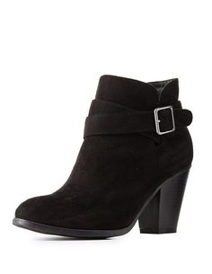 *CHARLOTTE RUSSE || Buckled almond toe ankle booties | Botines tobilleros con punta redondeada