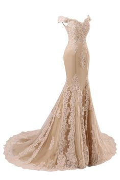 2018 Women Formal Champagne Long Dress V Neck Lace Tulle Female Prom Gowns for Wedding Party Off White Wedding Dresses, White Homecoming Dresses, Mermaid Prom Dresses Lace, Beaded Prom Dress, Formal Dresses For Weddings, Formal Evening Dresses, Formal Prom, Beaded Lace, Dress Lace