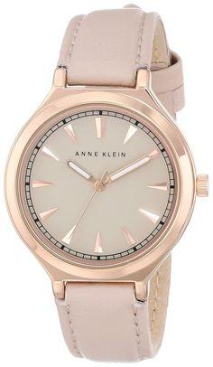Anne Klein Women's Rose Gold-Tone Watch with Leather Band Trendy Watches, Elegant Watches, Casual Watches, Beautiful Watches, Watches For Men, Wrist Watches, Girls Wrist Watch, Fitness Watches For Women, Anne Klein Watch