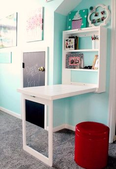 DIY Murphy desk - a great way to free up floor space and eliminate clutter in a child's room