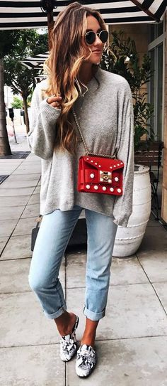 fall ootd   grey sweater + red bag + boyfriend jeans + loafers