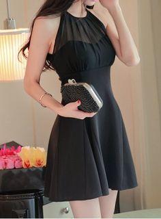 Sweet Round Collar Chiffon Spliced A-Line Sleeveless Dress For WomenCasual Dresses | RoseGal.com