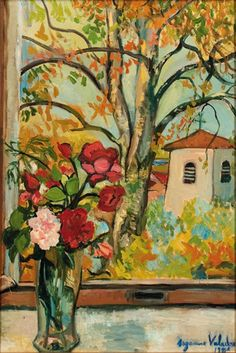 Bouquet of Flowers in front of a Window in Saint-Bernard / Suzanne Valadon - first woman painter admitted to the Société Nationale des Beaux-Arts Renoir, Maurice Utrillo, Henri De Toulouse Lautrec, Post Impressionism, Painting Still Life, A4 Poster, Vintage Artwork, French Artists, Art Photography