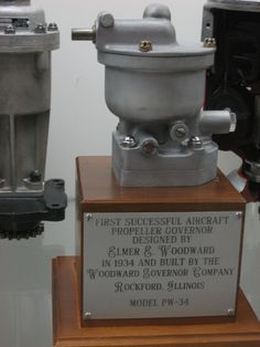 Elmer E. Woodward propeller governor from patent number 2,204,639 and 2,204,640.